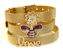 Gold CZ Lotus Mesh Bracelet Adjustable Fit