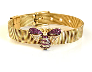 Gold CZ Bee Mesh Bracelet Adjustable Fit