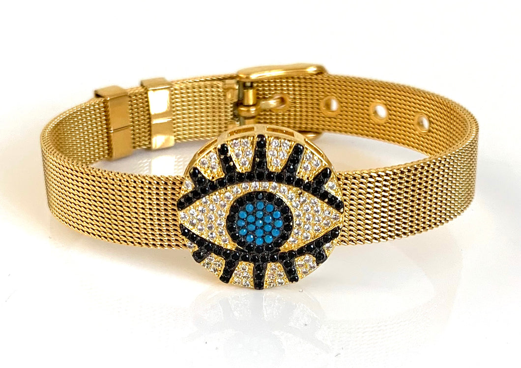 Gold CZ Evil Eye Mesh Bracelet Adjustable Fit