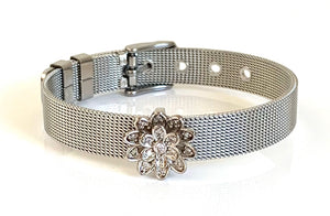 Silver CZ Lotus Mesh Bracelet Adjustable Fit