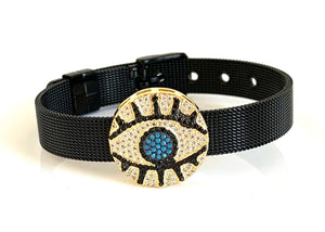Gold CZ Evil Eye Black Mesh Bracelet Adjustable Fit