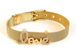 Love Gold Mesh Bracelet Adjustable Fit