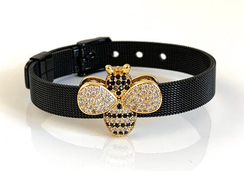 Black CZ Honey Bee Mesh Bracelet Adjustable Fit