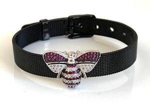 Silver CZ Bee Black Mesh Bracelet Adjustable Fit