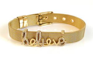 Believe Gold Mesh Bracelet Adjustable Fit