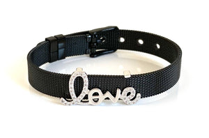 Silver CZ Love Black Mesh Bracelet Adjustable Fit