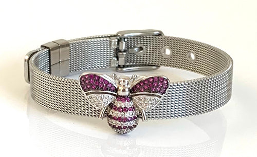 Silver CZ Bee Mesh Bracelet Adjustable Fit