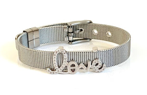 Silver CZ Love Mesh Bracelet Adjustable Fit