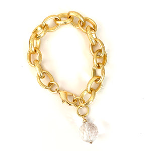 Quartz Crystal Globe Gold Chain Bracelet
