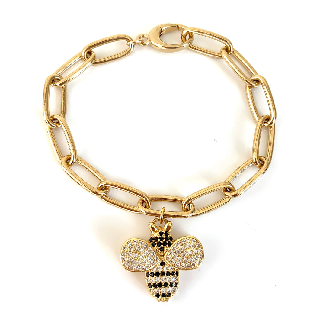 CZ Honey Bee Charm Bracelet