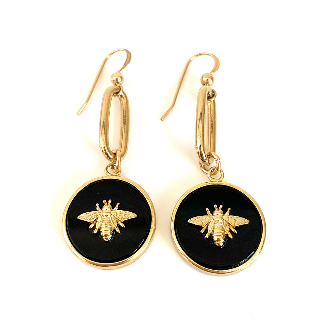 Honey Bee Gold Earrings