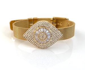 Evil Eye Gold Mesh Bracelet Adjustable Fit