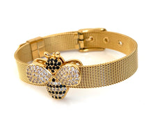 Honey Bee Gold Mesh Bracelet Adjustable Fit