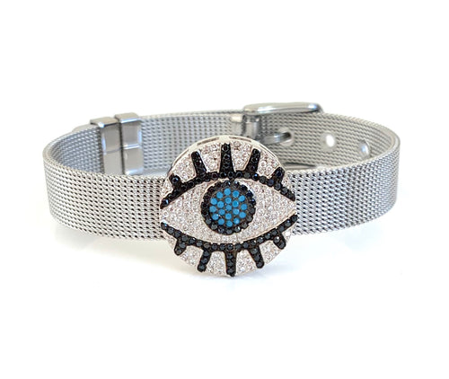 Silver CZ Evil Eye Mesh Bracelet Adjustable Fit