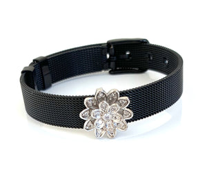 Silver CZ Lotus Black Mesh Bracelet Adjustable Fit