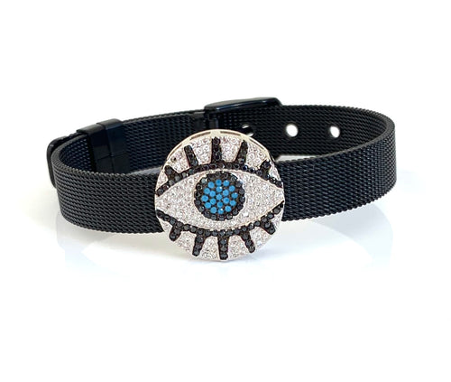 Black CZ Evil Eye Mesh Bracelet Adjustable Fit