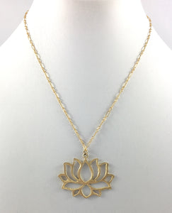 Delicate 14k Gold Lotus Pendant Necklace 16""