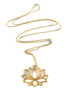 Handmade Delicate Gold Lotus Pendant Necklace 28""