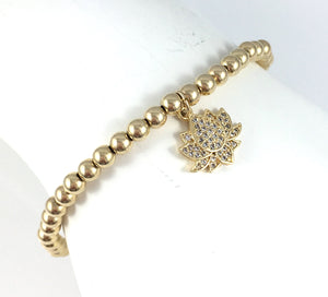 Gold Lotus Charm Stretch Bracelet