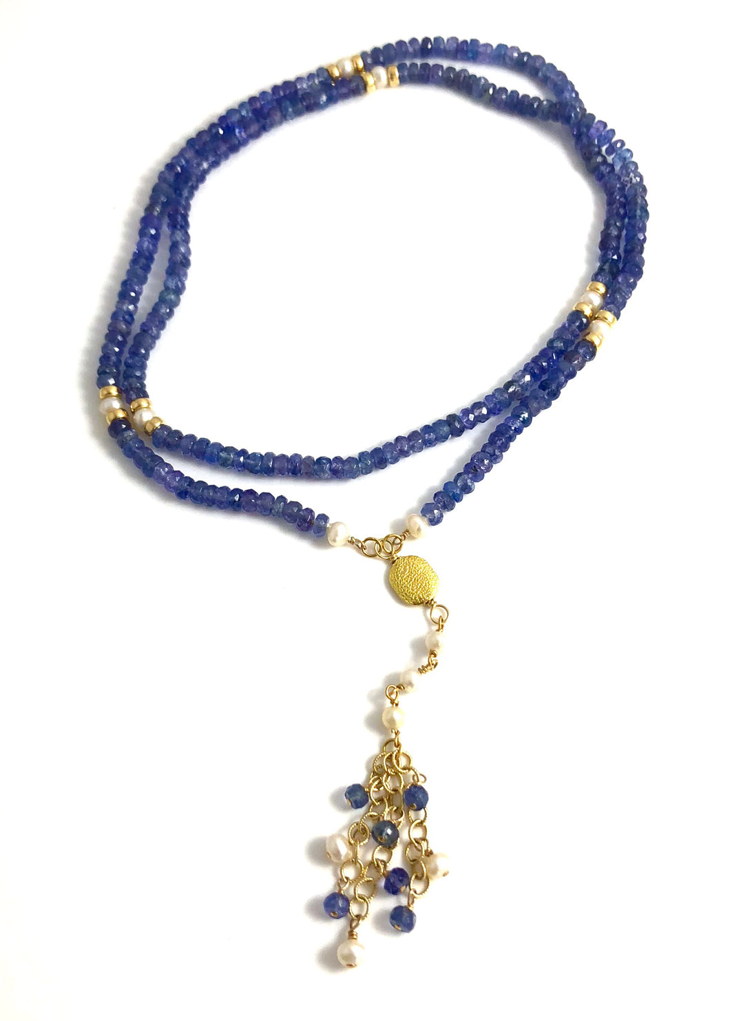 Handmade Tanzanite Pearl Necklace 18k Gold Tassel