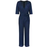 Fashion Lace Hollow Out V-Neck Women Slim Jumpsuit