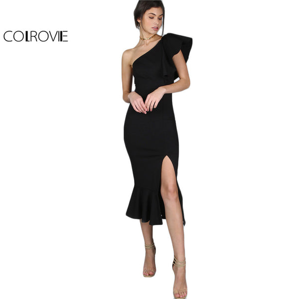 Women One Shoulder Frill Peplum Dress