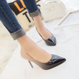 Fashion pointed toe patent leather stiletto high heels