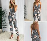 Casual sexy flower print long romper