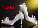 2017 New Rhinestone High Heels Cinderella Shoes Women Pumps Pointed toe Woman Crystal Wedding Shoes 7cm or 9cm heel big size