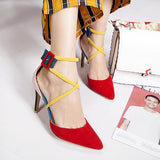 pointed toe high heel mixed colours suede shoes