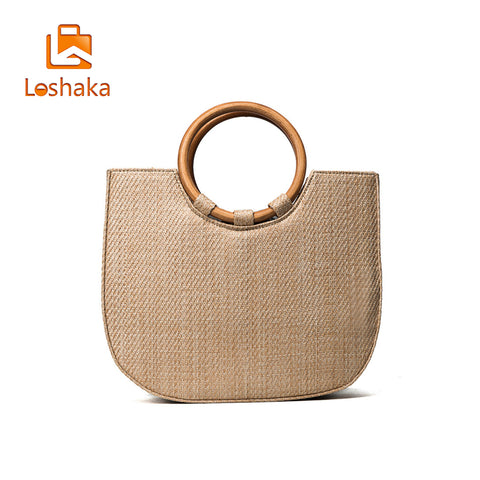 Summer  Circle Wooden Handle Knitted Handbag