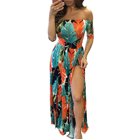 Sexy Slash Neck Off Shoulder High Split Long Maxi Dress