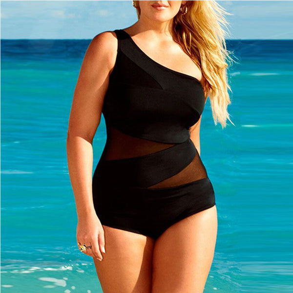 Oblique shoulder One-piece swimsuit