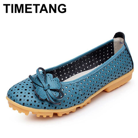 TIMETANG Hollow Outs Breathable Summer Shoes Women Flats Genuine Leather Soft Women Loafers Ladies Moccasins Female BSN-614