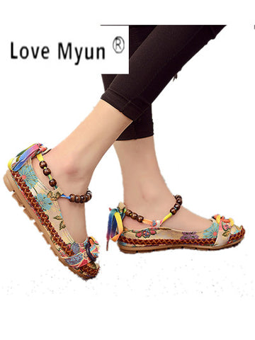 Casual Handmade Beaded Ankle Straps Flat Shoes