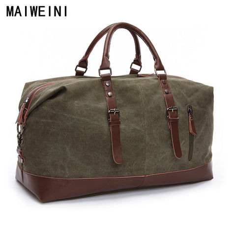 Fashion Canvas Leather Men Travel Bag