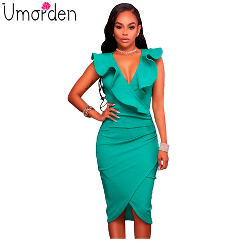 Ruffle Midi Wrap Bodycon Sexy Dress