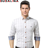 Men's Long Plaid Slim Fit Shirt