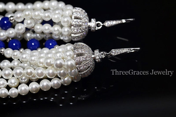 Handmade White And Royal Blue Long Dropping Pearl Earrings