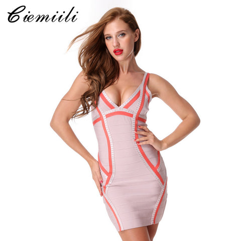 Women V-neck Bandage Dress
