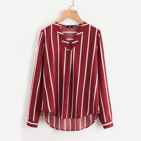 Sheinside Red Striped Work Shirt