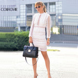 Sexy Cut Out Women Bodycon White Overlay Dress