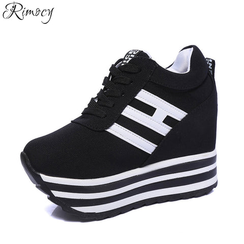 Rimocy height increasing shoes woman super high heels wedges platform Vulcanized Shoes zapatos mujer Breathable Warm Ankle Boots