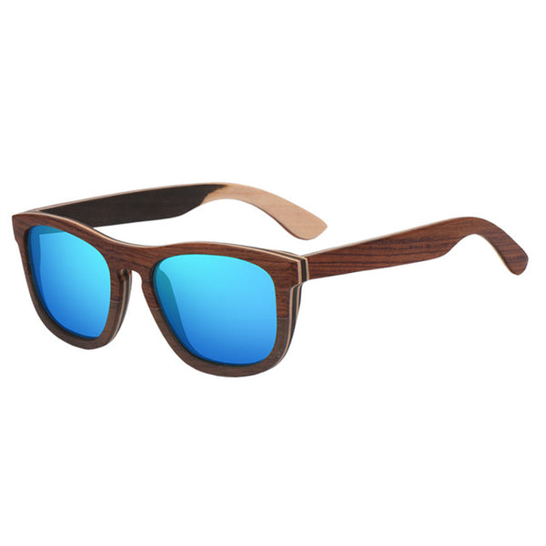 Classic Square Frame  Polarized Mirror Lens Wooden Sunglasses