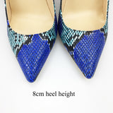 Women Shoes Blue Snake Printed Sexy Stilettos
