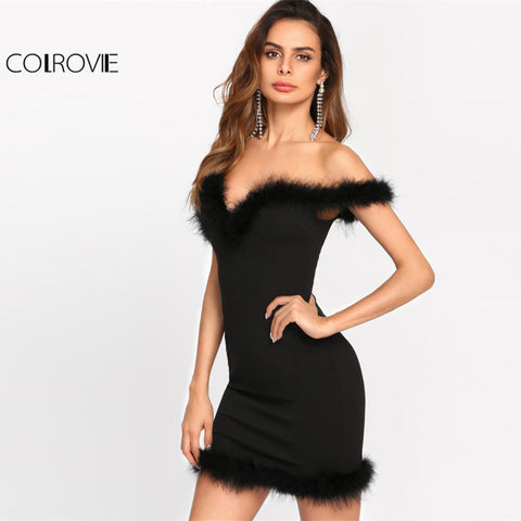 Bodycon Faux Fur Trim Party Dress