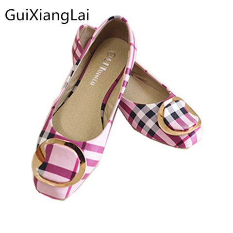 Ladies Bow Square Toe Slip-On Flat Shoes