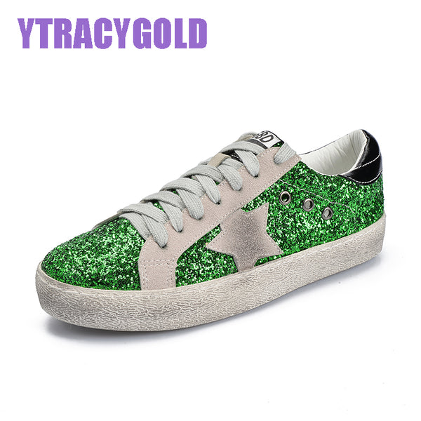 YtracyGold Glitter Star Leather Casual Shoes For Women Flats Fashion Tenis Feminino Vulcanize Shoes Women Lace-up Female Shoes