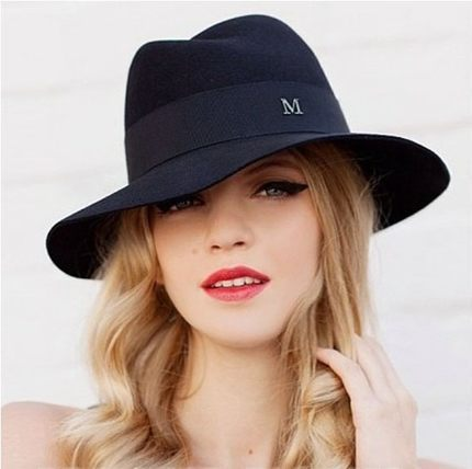 Woolen female spring and winter Large brimmed hat