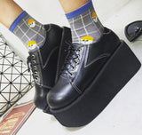 2017 Women Harajuku Flats Platform Shoes Ladies Creepers Footwear Spring New Fashion Brand Punk Flat Lace-up Black Womens Korean